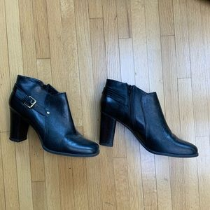 NINE WEST Black leather short booties with a heel